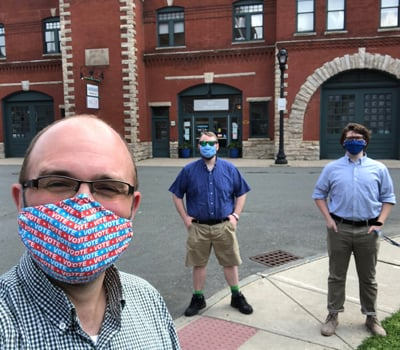 Benjamin Lamb, Kevin Pink and Jacob Hane outside the 1Berkshire offices in Pittsfield